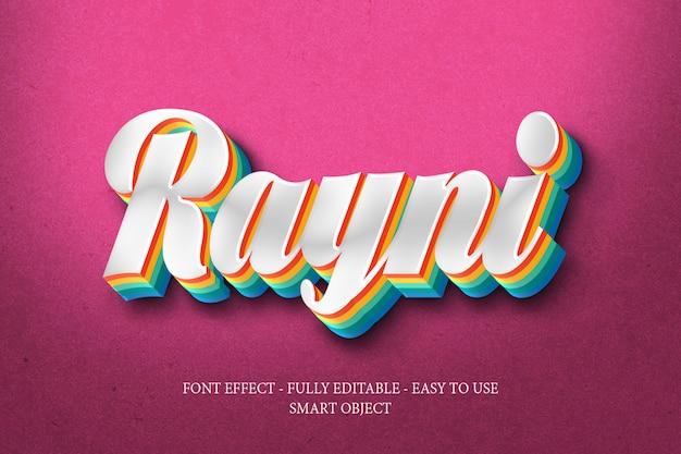 Kleurrijke 3d-effect regenboog lettertype