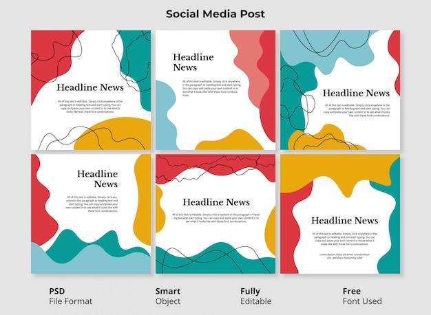 Kleurrijke abstracte vormen instagram postsjabloonbanner met volledig bewerkbare psd