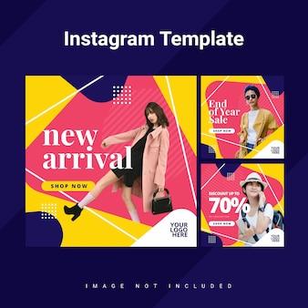 Kleurrijke afgeronde driehoek instagram feed sjabloon