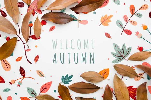 Kleurrijke bladeren die welkome herfst het van letters voorzien ontwerpen