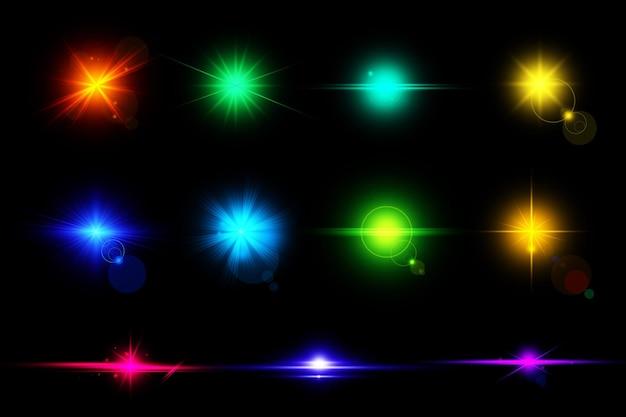 Kleurrijke digitale lensfakkels geplaatst geïsoleerd lenslicht