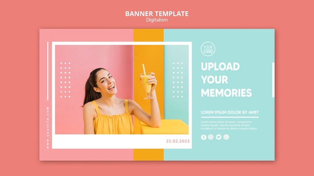 Kleurrijke digitalisme horizontale banner met foto van vrouw