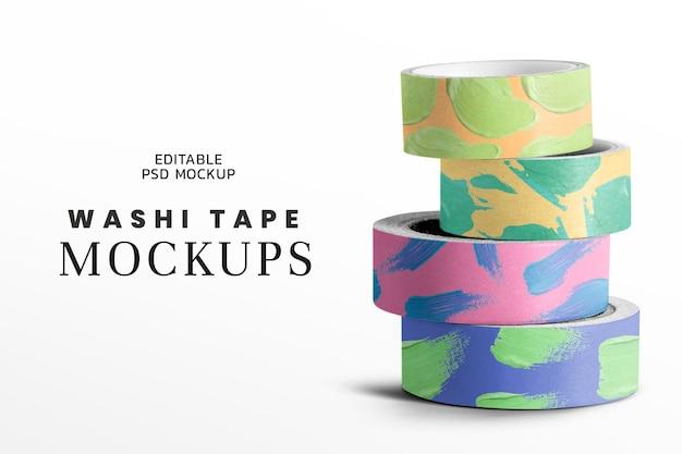 Kleurrijke duct tape mockup psd schattige acrylverf briefpapier