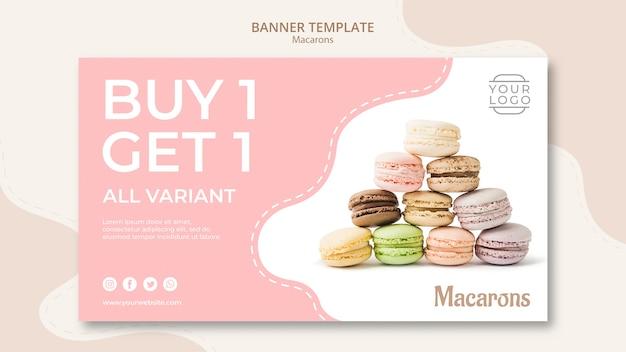 Kleurrijke franse macarons kopen één krijgen één banner