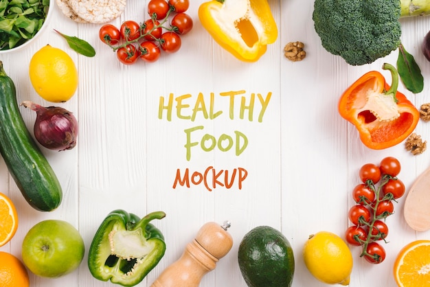 Kleurrijke groenten veganistisch eten mock-up