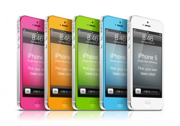 Kleurrijke iphone 5 vooraan omhoog bespotten