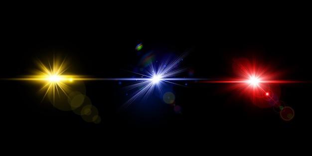 Kleurrijke lens flares pack gloeiende lenslichtcollectie