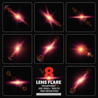 Kleurrijke lensflares set lenslichten premium collectie psd
