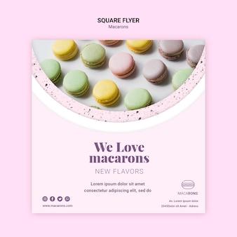 Kleurrijke macarons vierkante flyer-sjabloon