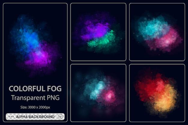 Kleurrijke mist wolk rook collectie op zwarte achtergrond