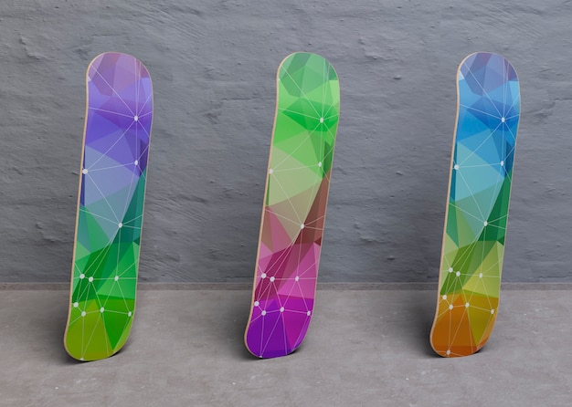 Kleurrijke model skateboards staan