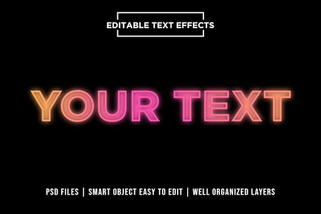 Kleurrijke neonlichten premium teksteffecten