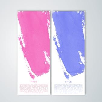 Kleurrijke paintstroke banners instellen