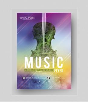 Kleurrijke partij poster mockup met gitaar