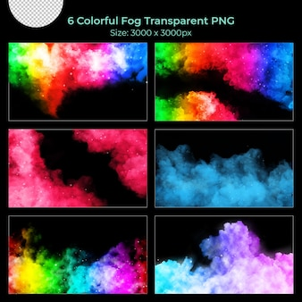 Kleurrijke realistische mistrook transparante set