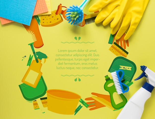 Kleurrijke reinigingsdienstapparatuur