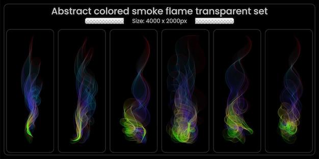 Kleurrijke rook transparant set op zwarte achtergrond