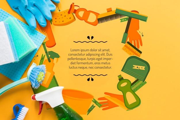Kleurrijke schoonmaak service apparatuur