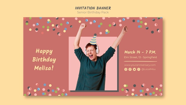 Kleurrijke senior verjaardag uitnodiging banner