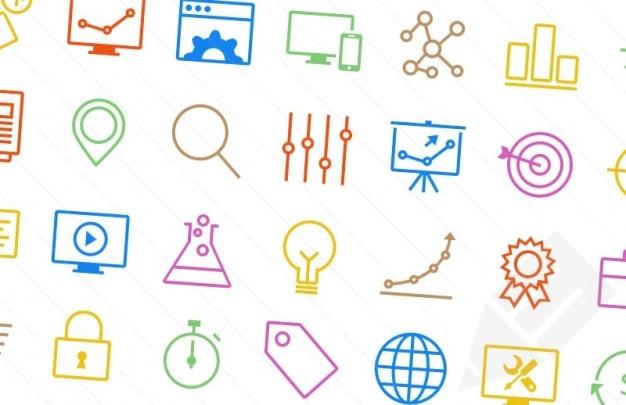 Kleurrijke seo iconen
