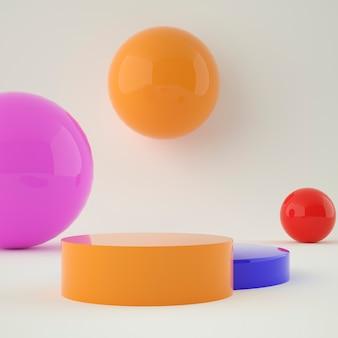 Kleurrijke set holografische 3d geometrische podium voor productplaatsing met achtergrond en bewerkbare kleur
