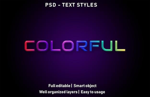 Kleurrijke teksteffecten stijl bewerkbare psd