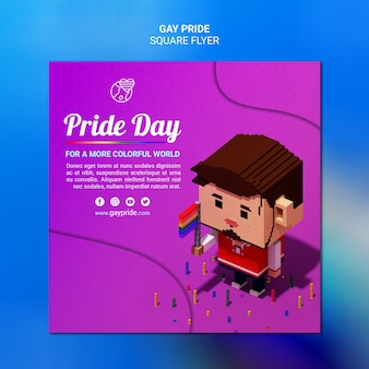 Kleurrijke vierkante flyer sjabloon gay pride