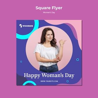 Kleurrijke vrouwen dag vierkante sjabloon folder
