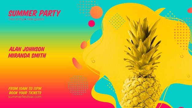 Kleurrijke zomer partij webbanner sjabloon