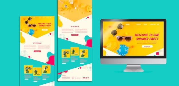 Kleurrijke zomer website sjablonen voor feestjes