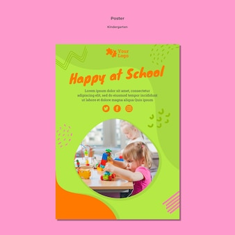 Kleuterschool poster sjabloon met foto