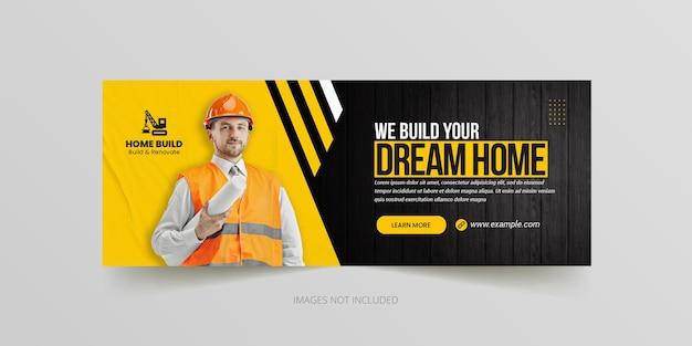 Klusjesman huisreparatie of bouw facebook tijdlijn omslag en webbannersjabloon