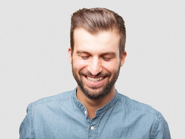 Knappe jonge man lachen