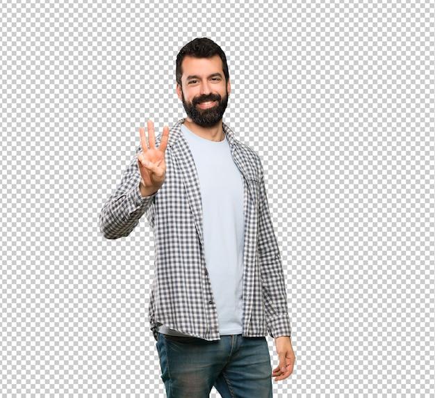 Knappe man met baard gelukkig en drie met vingers tellen