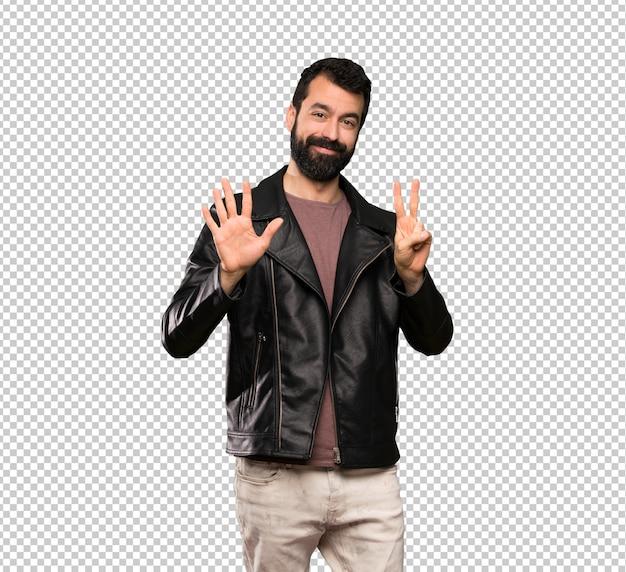 Knappe man met baard zeven met vingers tellen