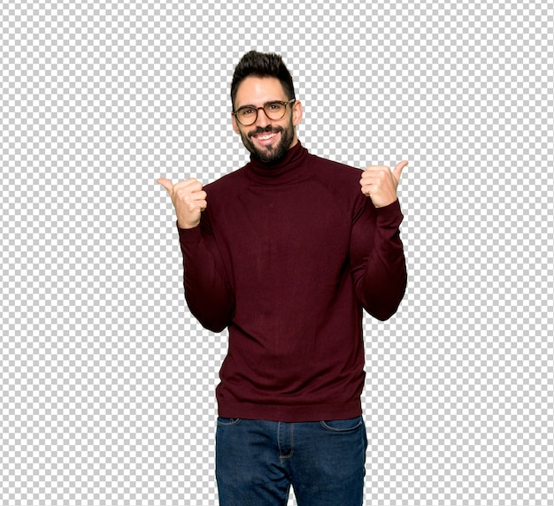 Knappe man met een bril geven een thumbs up gebaar met beide handen en glimlachen