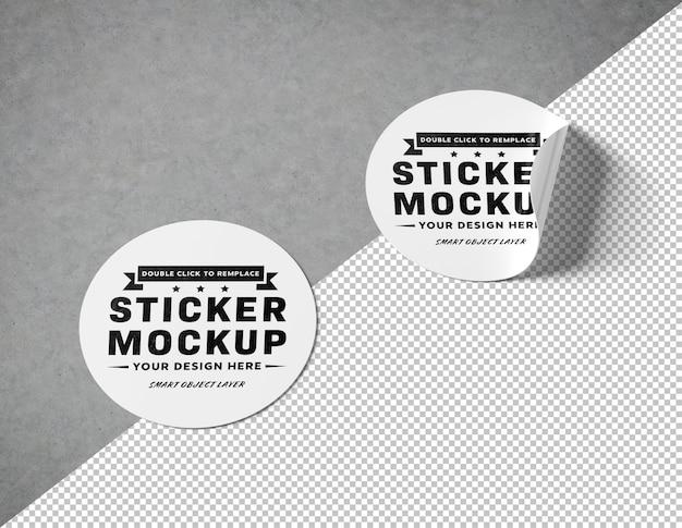 Knip een ronde sticker uit op een betonnen oppervlak mockup