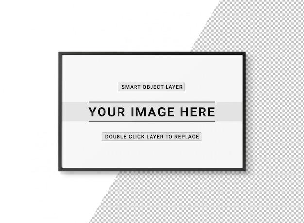 Knip een zwart rechthoekig frame uit op wit mockup