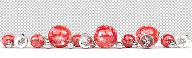 Knip geïsoleerde rode en glazen kerstballen opgesteld