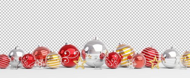 Knip geïsoleerde rode en gouden kerstballen opgesteld