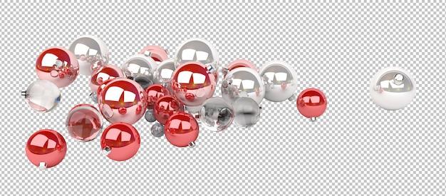 Knip rode en zilveren kerstballen uit