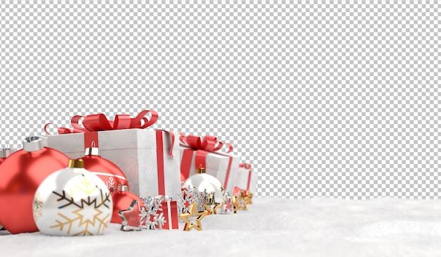 Knip rode kerstballen en geschenken op sneeuw