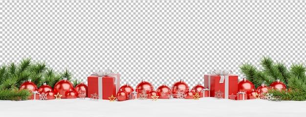 Knip rode kerstballen en geschenken opgesteld
