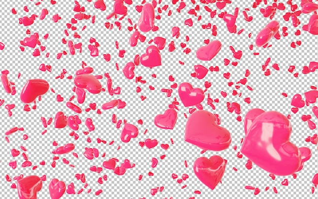 Knip rode vallende harten confetti