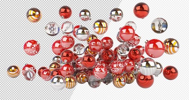 Knip rood zilveren en gouden kerstballen uit