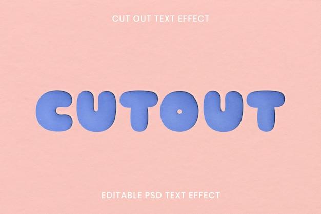 Knip teksteffect psd bewerkbare sjabloon uit