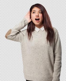 Koel chinees-vrouw het luisteren teken