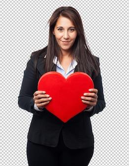 Koele bedrijfsvrouw met hartvorm