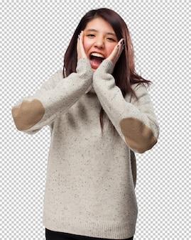 Koele chinees-vrouw verrast