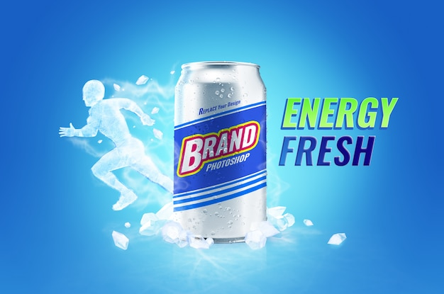 Koele frisse energiedrank kan mockup en reclame voor ijslichamen